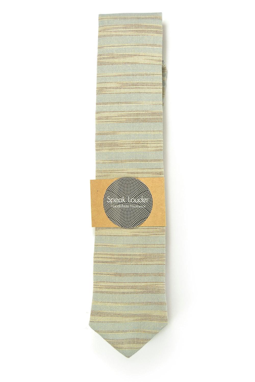 Blue grey and ivory/cream striped tie - Wedding Mens Tie Skinny Necktie - Laid-B