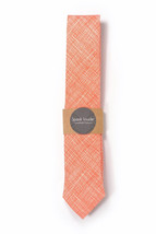 Orange plaid necktie - Wedding Mens Tie Skinny Necktie - Laid-Back necktie - $60.00