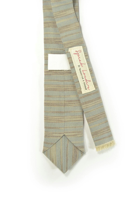 Blue grey and ivory/cream striped tie - Wedding Mens Tie Skinny Necktie - Laid-B image 2