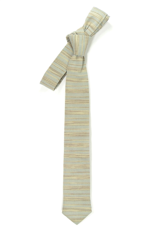 Blue grey and ivory/cream striped tie - Wedding Mens Tie Skinny Necktie - Laid-B image 3