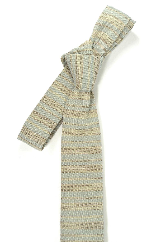 Blue grey and ivory/cream striped tie - Wedding Mens Tie Skinny Necktie - Laid-B image 4