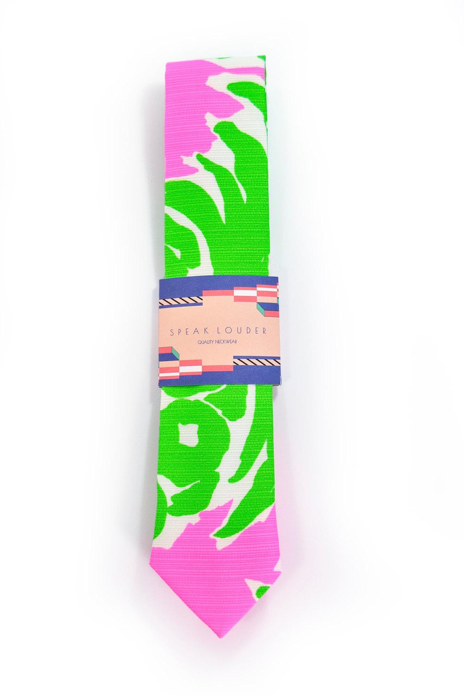 Green neon pink necktie - Wedding Mens Tie Skinny plants, wild jungle tropic tie