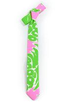 Green neon pink necktie - Wedding Mens Tie Skinny plants, wild jungle tropic tie image 2