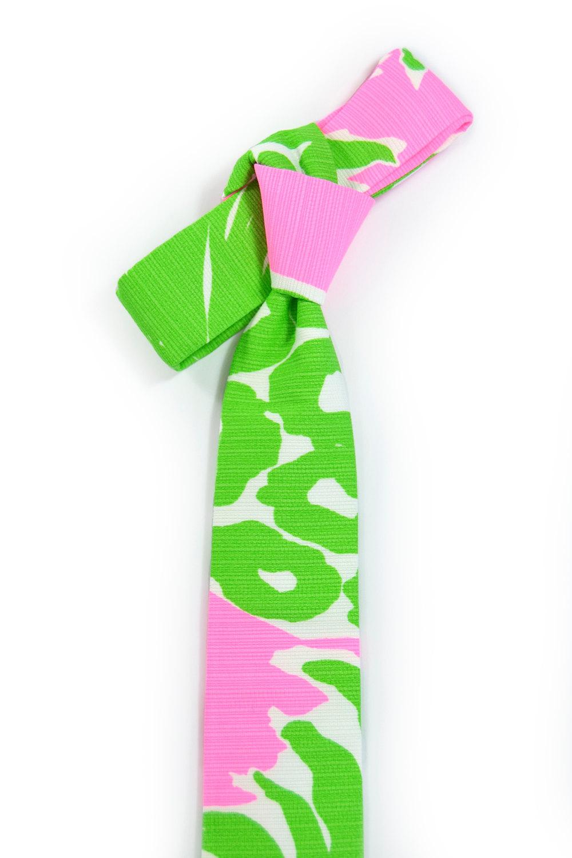Green neon pink necktie - Wedding Mens Tie Skinny plants, wild jungle tropic tie image 3