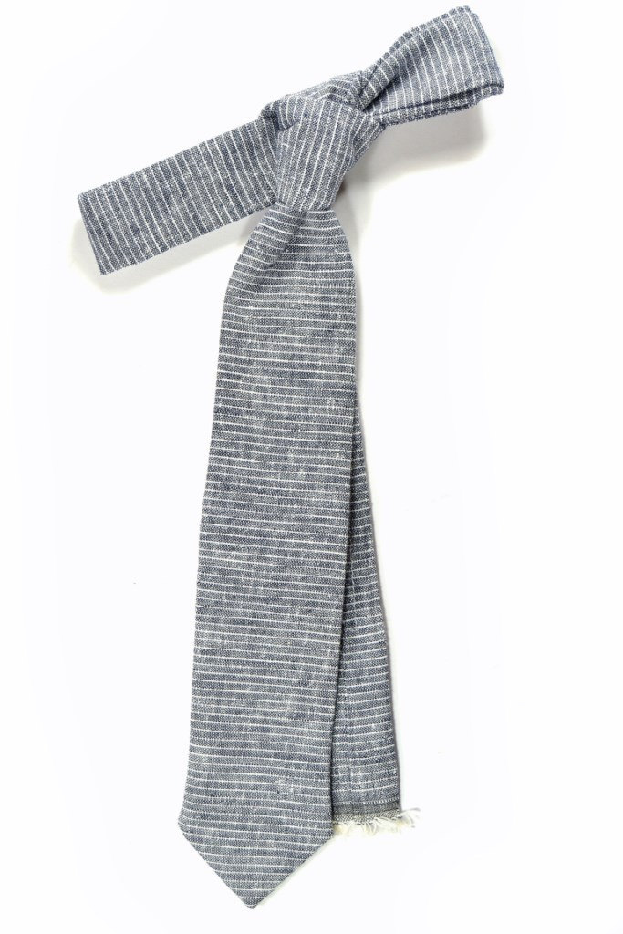 Primary image for blue micro striped linen necktie - Wedding Mens Tie Skinny Necktie - Laid-Back n