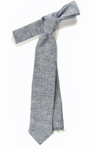 blue micro striped linen necktie - Wedding Mens Tie Skinny Necktie - Lai... - $60.00