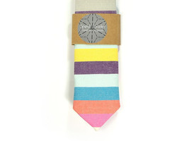 Wedding Mens Tie Skinny Necktie striped , men tie color- colorful tie, p... - $60.00