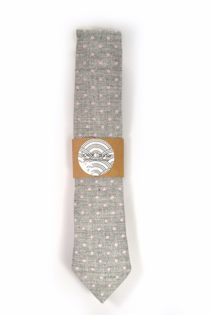 Wedding Mens Tie Skinny Necktie -  grey pink dots wool tie