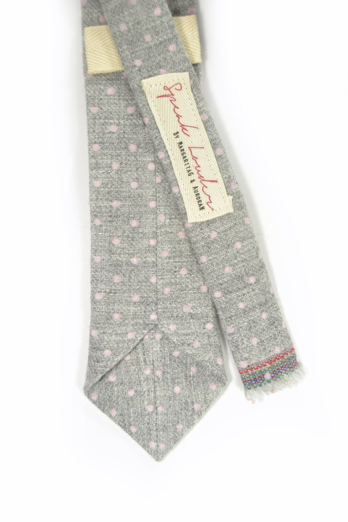 Wedding Mens Tie Skinny Necktie -  grey pink dots wool tie image 2