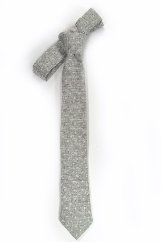 Wedding Mens Tie Skinny Necktie -  grey pink dots wool tie image 3