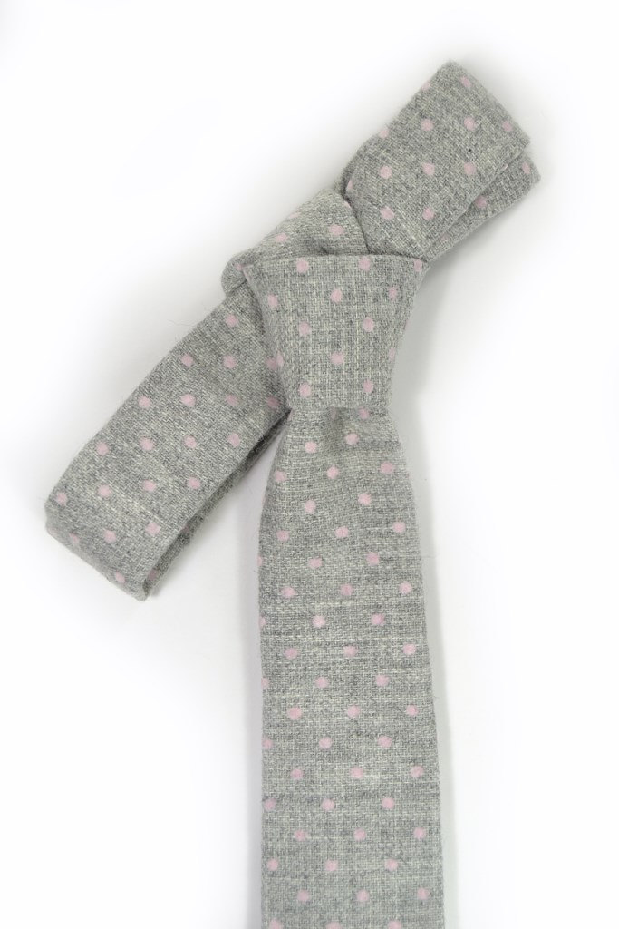 Wedding Mens Tie Skinny Necktie -  grey pink dots wool tie image 4