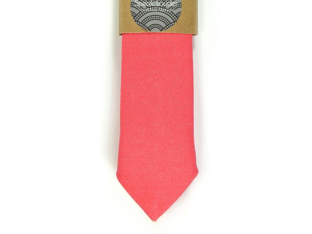 Bright Coral  necktie - coral tie, Wedding Mens Tie Skinny Necktie - Laid-Back n