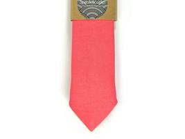 Bright Coral  necktie - coral tie, Wedding Mens Tie Skinny Necktie - Lai... - $60.00