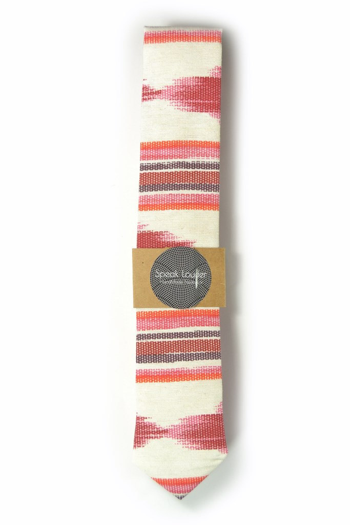 Red oarange and ivory ikat tie - Wedding Mens Tie Skinny Necktie - Laid-Back nec