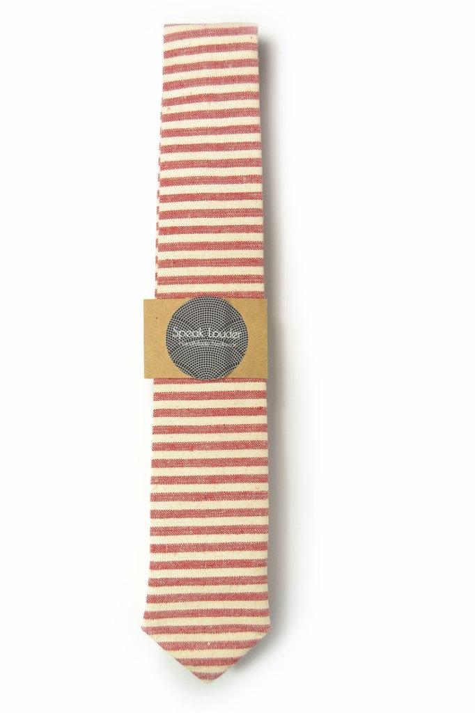 Red and ivory/cream striped tie - Wedding Mens Tie Skinny Necktie - Laid-Back ne