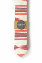 Red oarange and ivory ikat tie - Wedding Mens Tie Skinny Necktie - Laid-Back nec image 2