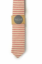 Red and ivory/cream striped tie - Wedding Mens Tie Skinny Necktie - Laid-Back ne image 2