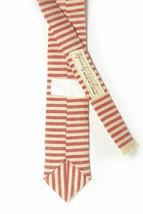 Red and ivory/cream striped tie - Wedding Mens Tie Skinny Necktie - Laid-Back ne image 3