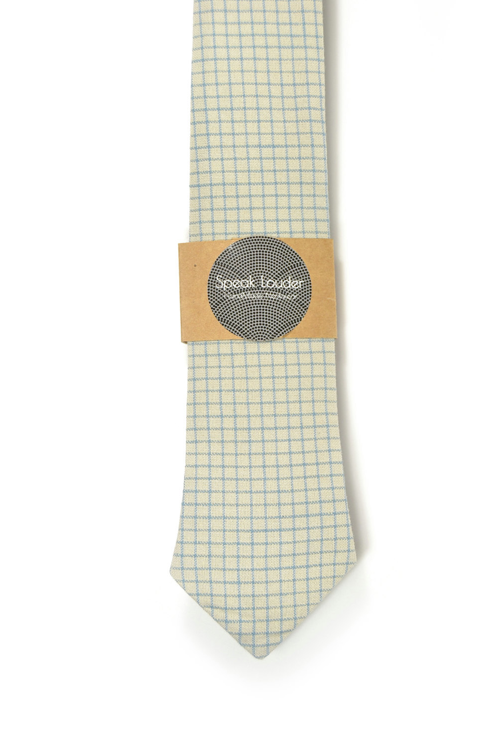 Cream blue check necktie - Wedding Mens Tie Skinny Necktie - Laid-Back necktie image 2