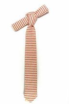 Red and ivory/cream striped tie - Wedding Mens Tie Skinny Necktie - Laid-Back ne image 4