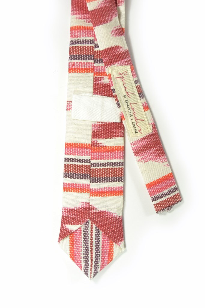 Red oarange and ivory ikat tie - Wedding Mens Tie Skinny Necktie - Laid-Back nec image 3