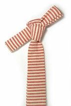 Red and ivory/cream striped tie - Wedding Mens Tie Skinny Necktie - Laid-Back ne image 5