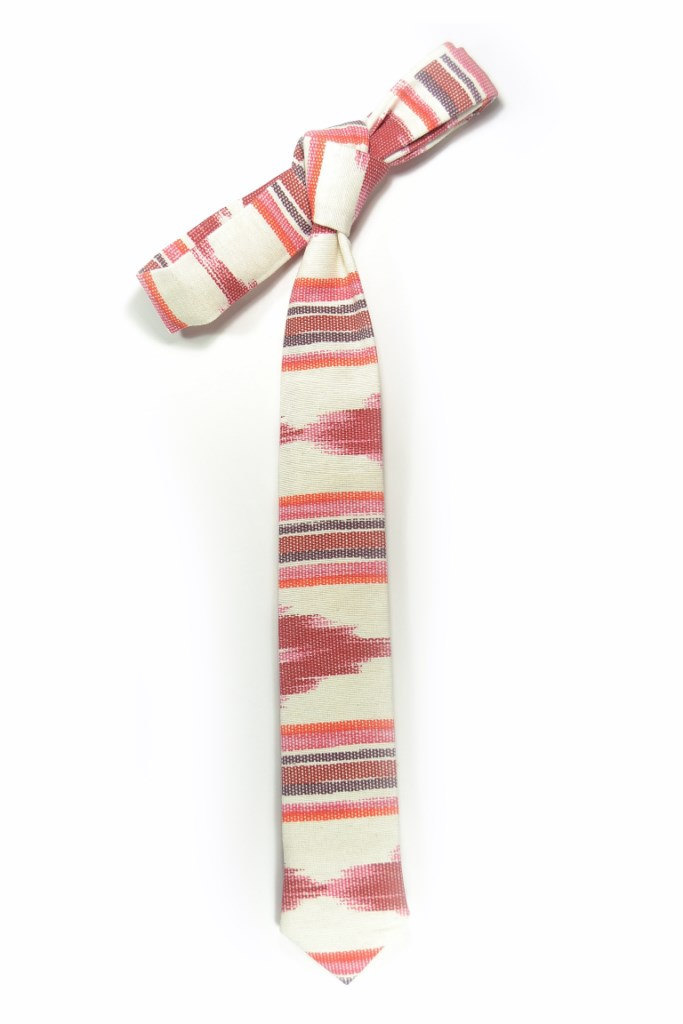 Red oarange and ivory ikat tie - Wedding Mens Tie Skinny Necktie - Laid-Back nec image 4