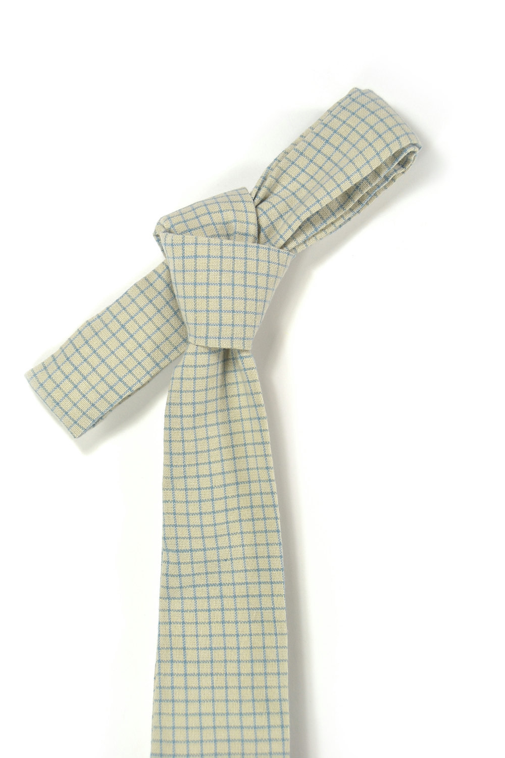 Cream blue check necktie - Wedding Mens Tie Skinny Necktie - Laid-Back necktie image 4