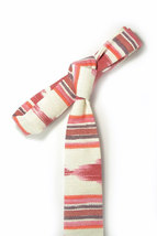 Red oarange and ivory ikat tie - Wedding Mens Tie Skinny Necktie - Laid-Back nec image 5