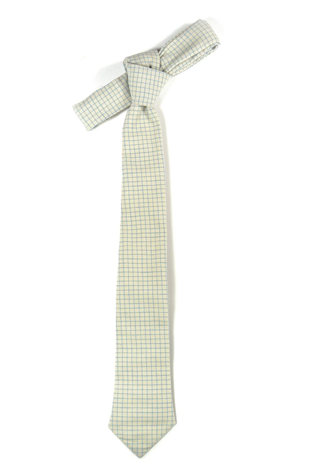 Cream blue check necktie - Wedding Mens Tie Skinny Necktie - Laid-Back necktie image 5