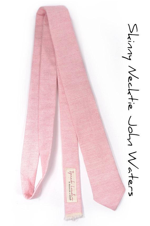 Wedding Mens Tie Skinny Necktie John Waters- Laid-Back necktie- Pink Japanese fa image 5