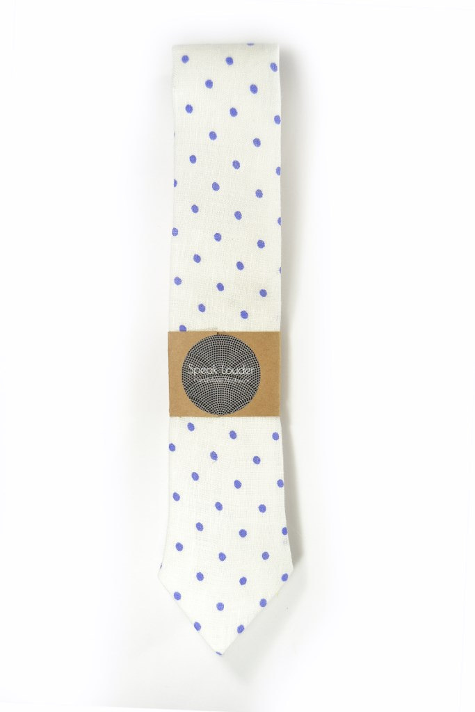 20% off White purple dots linen necktie - Wedding Mens Tie Skinny Necktie - Laid