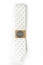 20% off White purple dots linen necktie - Wedding Mens Tie Skinny Neckti... - $60.00