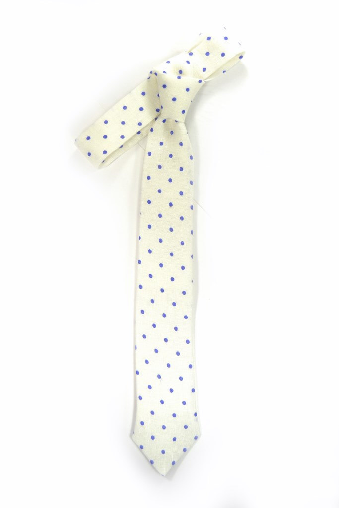 20% off White purple dots linen necktie - Wedding Mens Tie Skinny Necktie - Laid image 2