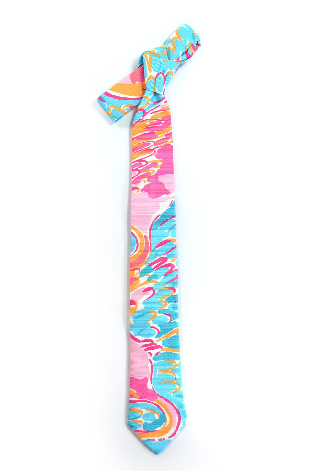 Blue and pink jungle tropic necktie - Wedding Mens Tie Skinny TROPICAL TIE flami image 3