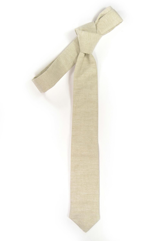 Khaki chambray necktie - Wedding Mens Tie Skinny Necktie Joseph Heller - Laid-Ba image 2