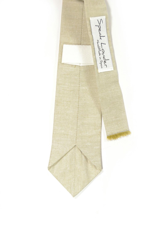 Khaki chambray necktie - Wedding Mens Tie Skinny Necktie Joseph Heller - Laid-Ba image 3