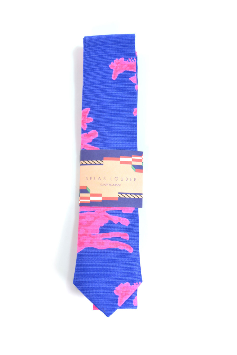 Primary image for Blue pink Coral necktie - Wedding Mens Tie Skinny neon pink navy blue TROPICAL T