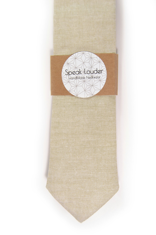 Khaki chambray necktie - Wedding Mens Tie Skinny Necktie Joseph Heller - Laid-Ba image 4