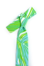 Green jungle tropic necktie - Wedding Mens Tie Skinny TROPICAL TIE Laid-Back nec image 4