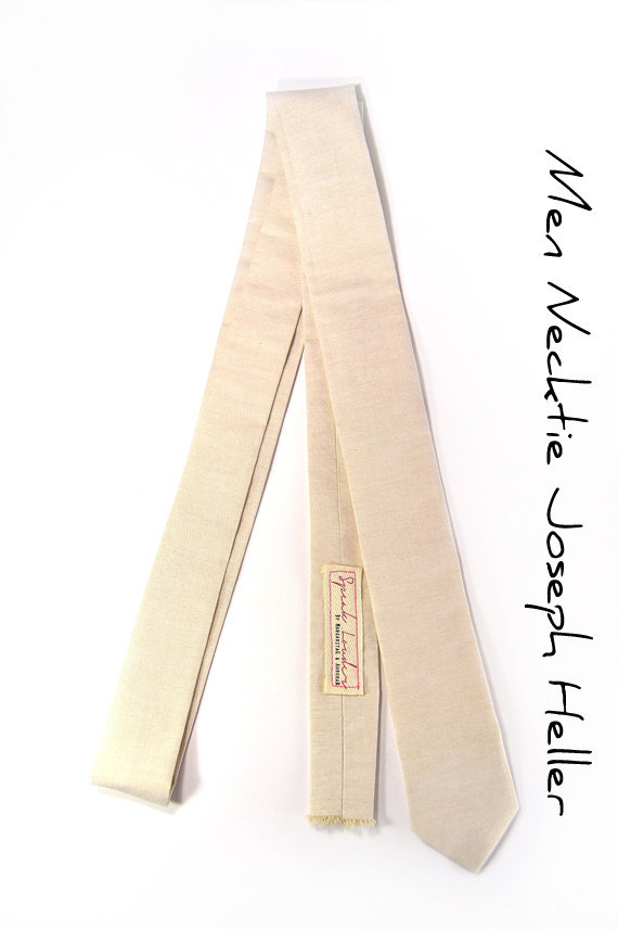 Khaki chambray necktie - Wedding Mens Tie Skinny Necktie Joseph Heller - Laid-Ba image 5