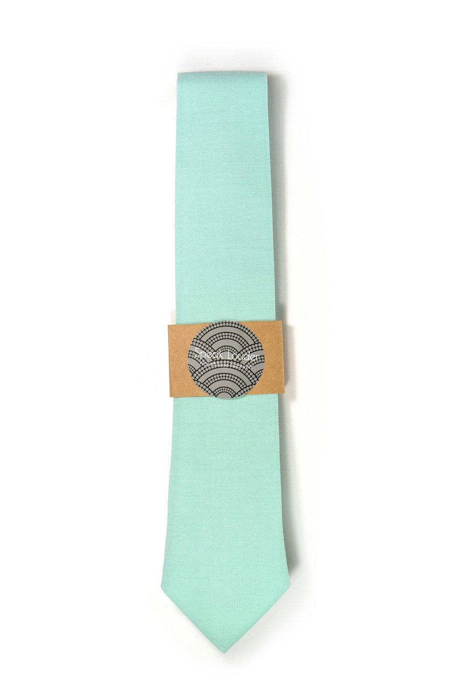 Turquoise seafoam necktie - Wedding Mens Tie Skinny Necktie organic cotton- Laid