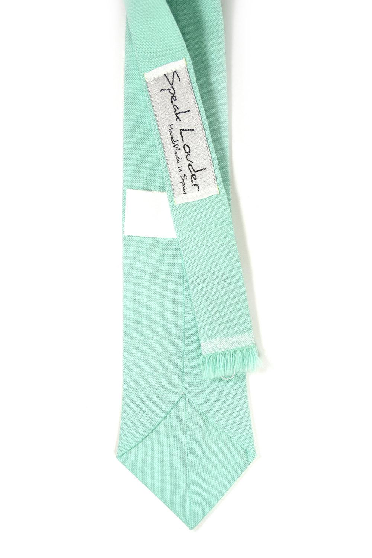Turquoise seafoam necktie - Wedding Mens Tie Skinny Necktie organic cotton- Laid image 2