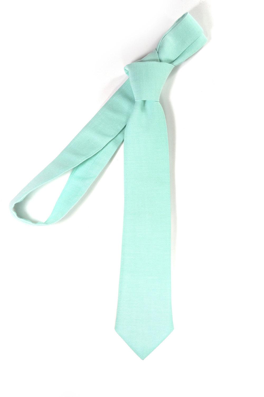 Turquoise seafoam necktie - Wedding Mens Tie Skinny Necktie organic cotton- Laid image 3