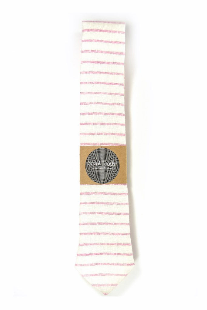 Wedding Mens Tie Skinny Necktie Howard Hawks- Laid-Back necktie- pink white stri