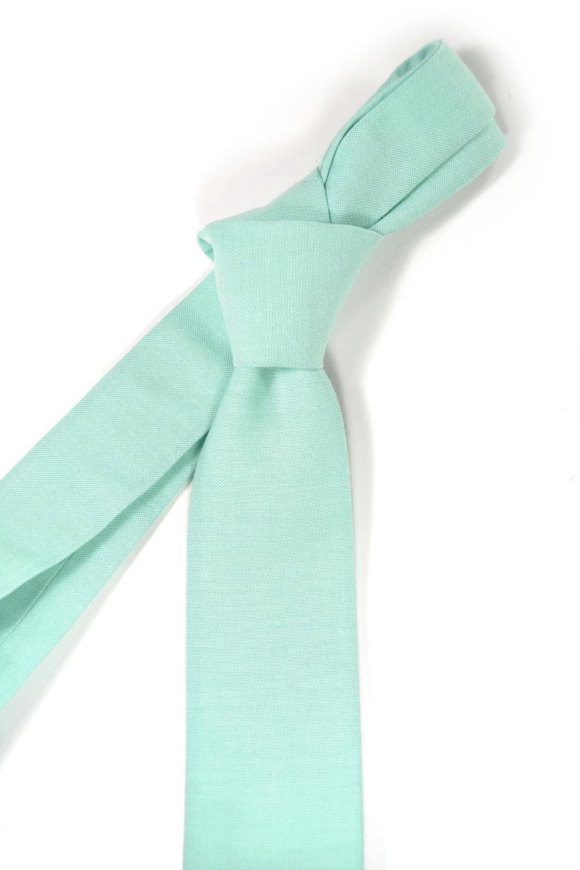 Turquoise seafoam necktie - Wedding Mens Tie Skinny Necktie organic cotton- Laid image 4