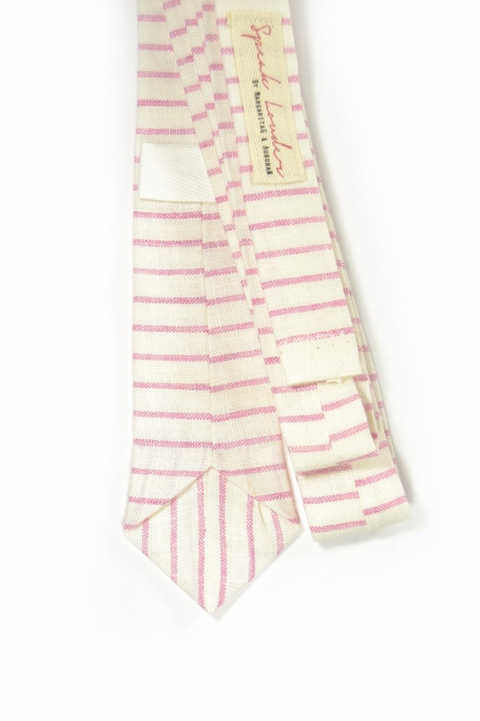 Wedding Mens Tie Skinny Necktie Howard Hawks- Laid-Back necktie- pink white stri image 4