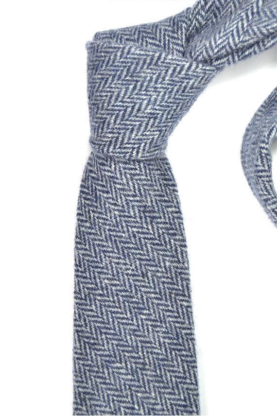 Mens Necktie blue herringbone Wool tie image 2