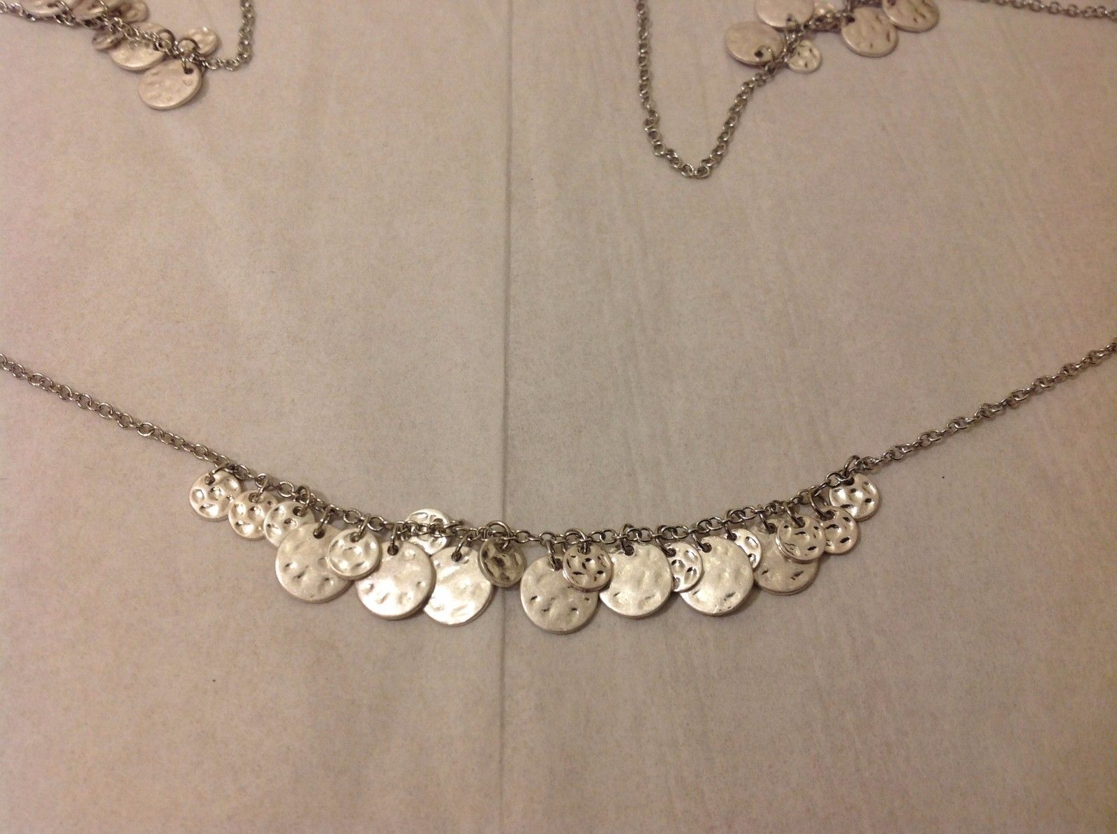 "Geranium Silver Toned Long Necklace 38"" Medallions NWT Adjustable Lobster Clasp"