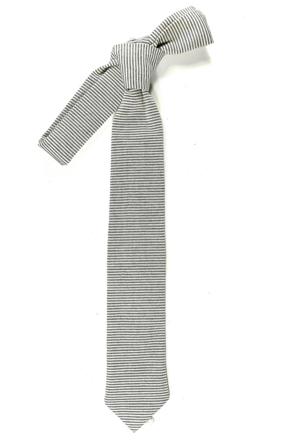 Wedding Mens Skinny Necktie- striped black  ivory Chambray- Laid-Back necktie image 2